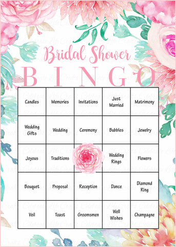 photograph about Printable Bridal Shower Bingo known as Floral Bridal Bingo Playing cards - Printable Obtain - Prefilled - Bridal Shower Activity for Marriage ceremony - Red Rose Floral BR1004