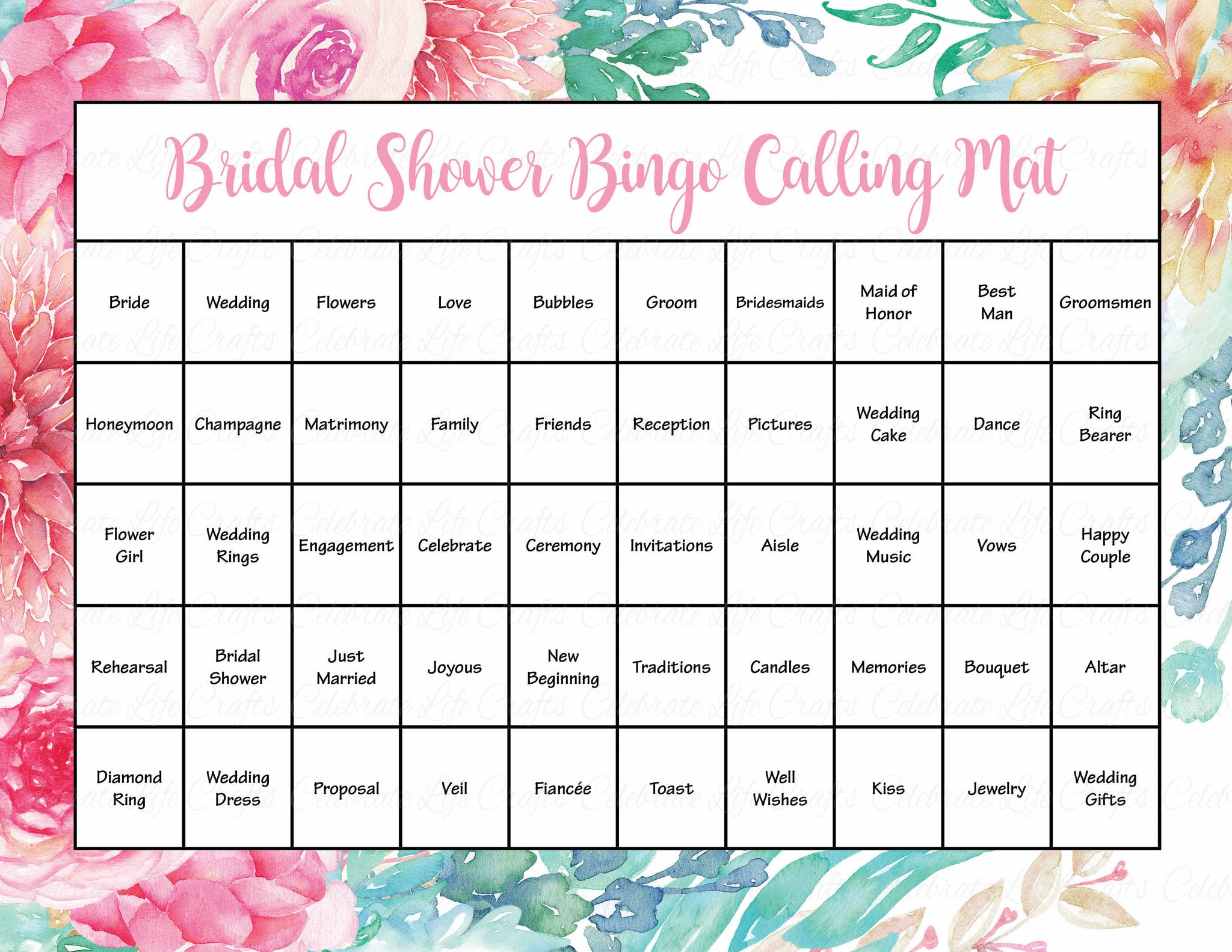 floral bridal bingo cards printable download prefilled bridal shower game for wedding