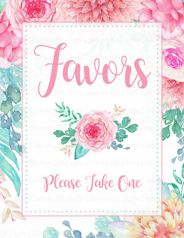 Favors Sign - PRINTABLE DOWNLOAD - Pink Floral Bridal Shower Decorations - BR1004