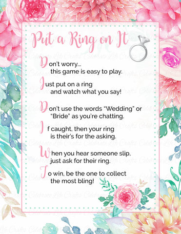 """Put a Ring on It"" Bridal Shower Game - PRINTABLE DOWNLOAD - Pink Floral Bridal Shower - BR1004"