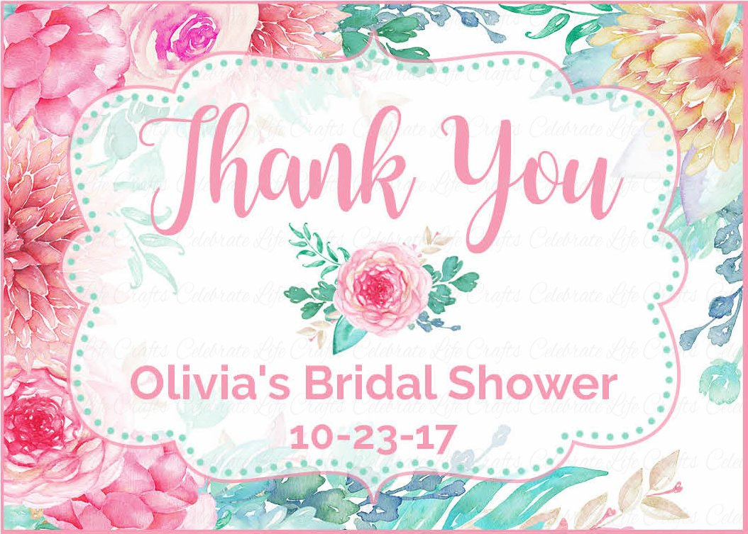 Personalized Thank You Favor Tags for Bridal Shower - Pink Floral ...