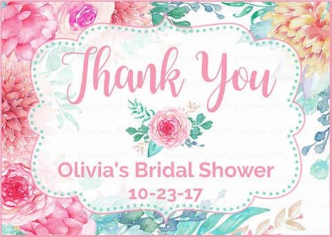 Personalized Bridal Shower Favor Tags - PRINTABLE - Pink Floral Wedding Shower - BR1004