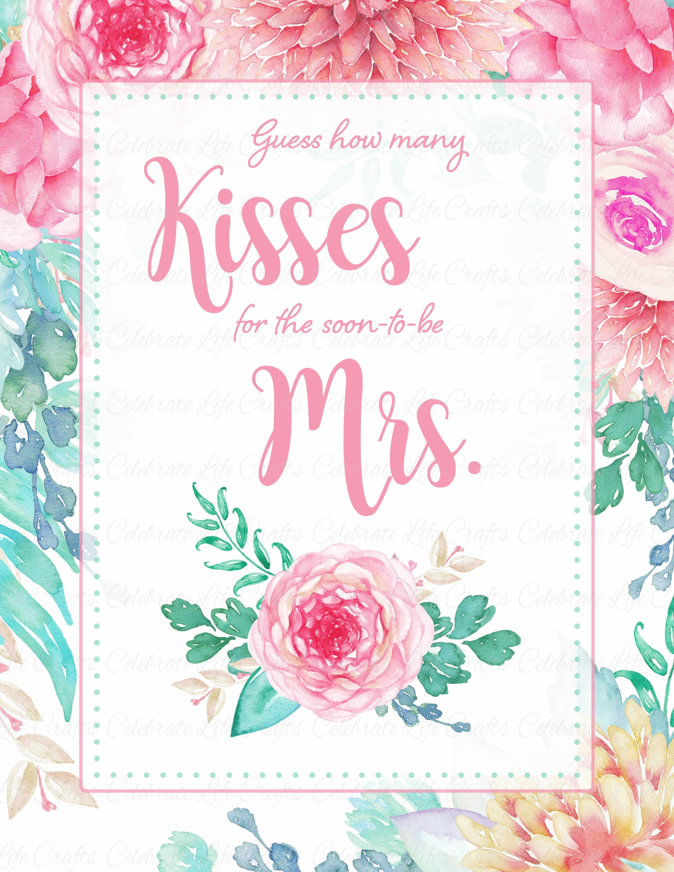 photo about Guess Who Cards Printable named How Numerous Kisses Bridal Shower Recreation Indication - Crimson Floral