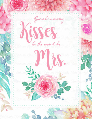 How Many Kisses Bridal Shower Game Sign and Guessing Cards - PRINTABLE DOWNLOAD - Pink Floral Wedding Shower - BR1004