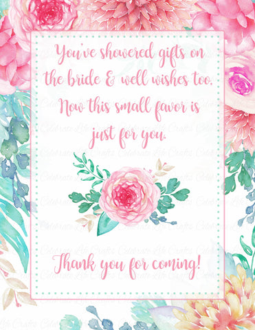 Thank You Favor Poem Sign - PRINTABLE DOWNLOAD - Pink Floral Bridal Shower Decorations - BR1004
