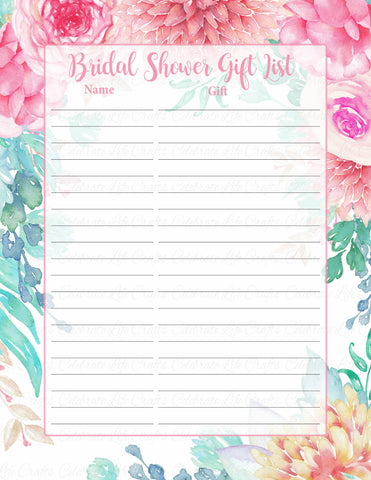 Bridal Shower Gift List Set - PRINTABLE DOWNLOAD - Pink Floral Wedding Shower Decorations - BR1004