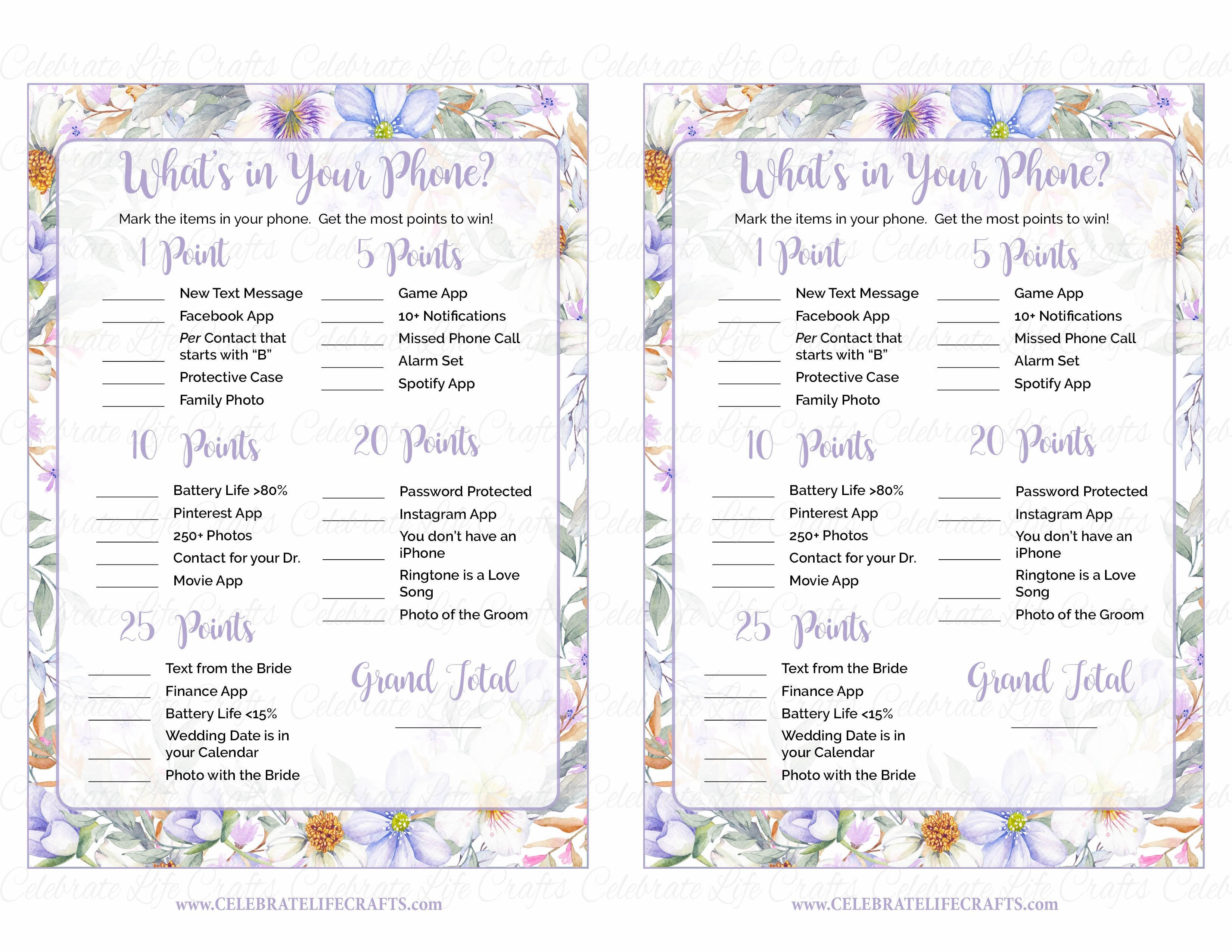 picture regarding What's in Your Phone Game Free Printable called Whats inside of Your Cellphone Bridal Shower Activity - PRINTABLE Obtain - Crimson Floral Marriage Shower - BR1005