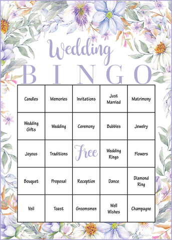 Wedding Bingo Cards - PRINTABLE DOWNLOAD - Prefilled Wedding Shower Game - Purple Floral - BR1005