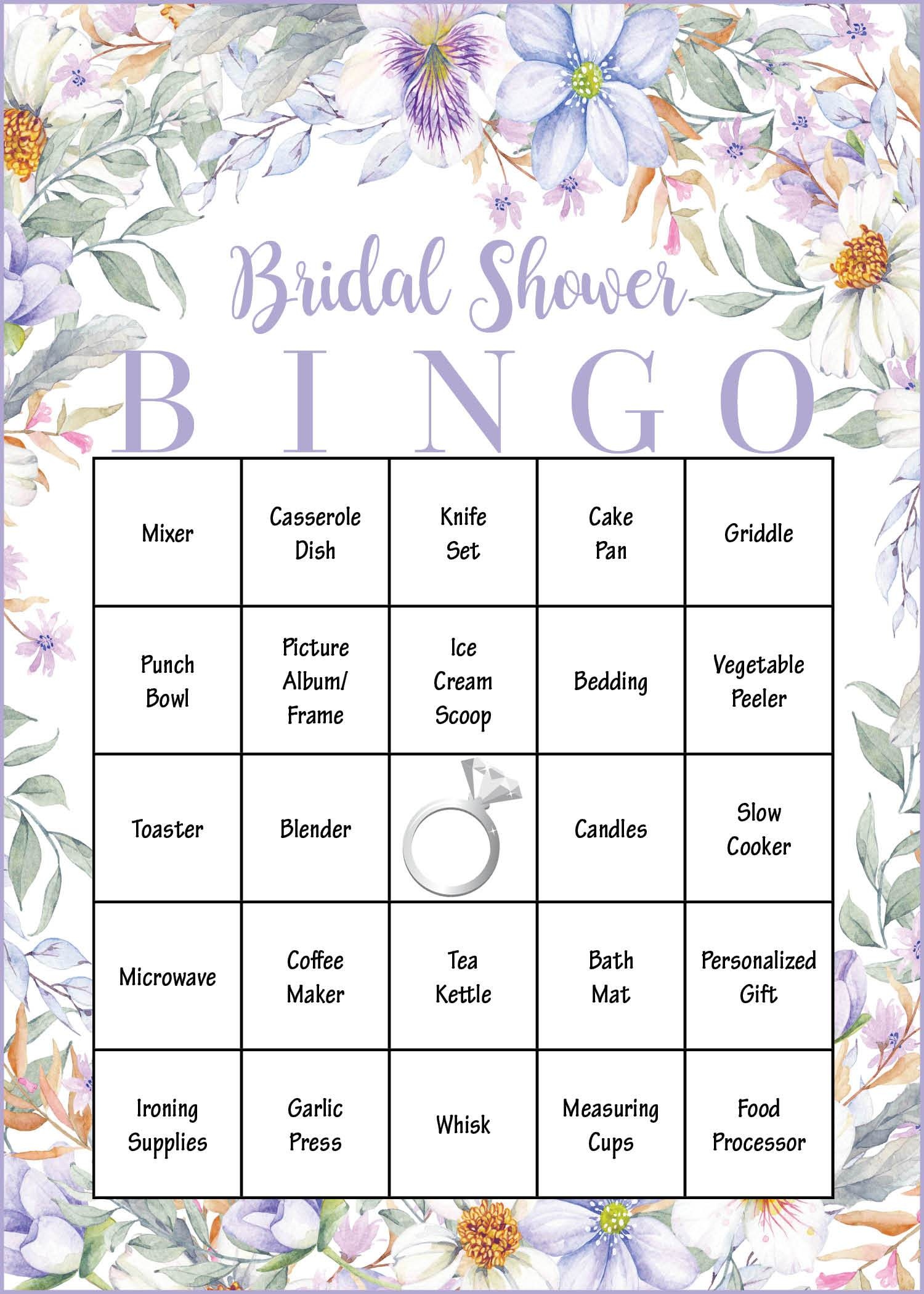 bridal shower gift bingo cards printable download bridal gift opening game purple floral br1005