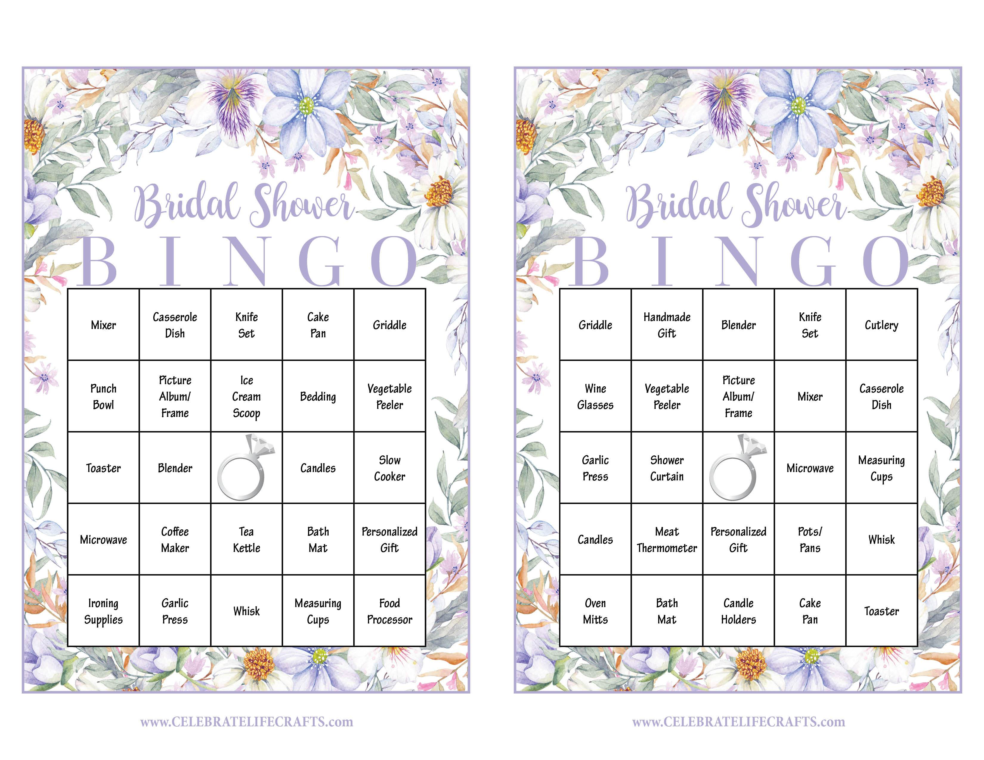 bridal shower gift bingo cards printable download bridal gift opening game purple floral