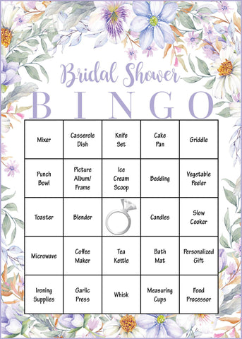 Bridal Shower Gift Bingo Cards - PRINTABLE DOWNLOAD - Bridal Gift Opening Game - Purple Floral - BR1005