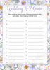 Wedding A-Z Game - PRINTABLE DOWNLOAD - Purple Floral Bridal Shower Game - BR1005
