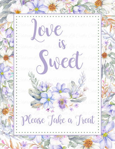 Love is Sweet Sign - PRINTABLE DOWNLOAD - Purple Floral Bridal Shower Decorations - BR1005