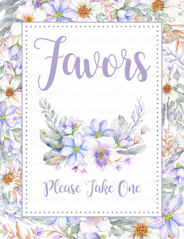 Favors Sign - PRINTABLE DOWNLOAD - Purple Floral Bridal Shower Decorations - BR1005
