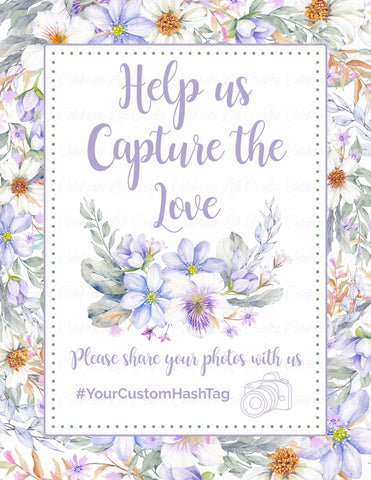Capture the Love Sign - PRINTABLE - Purple Floral Bridal Shower Instagram Signage - BR1005