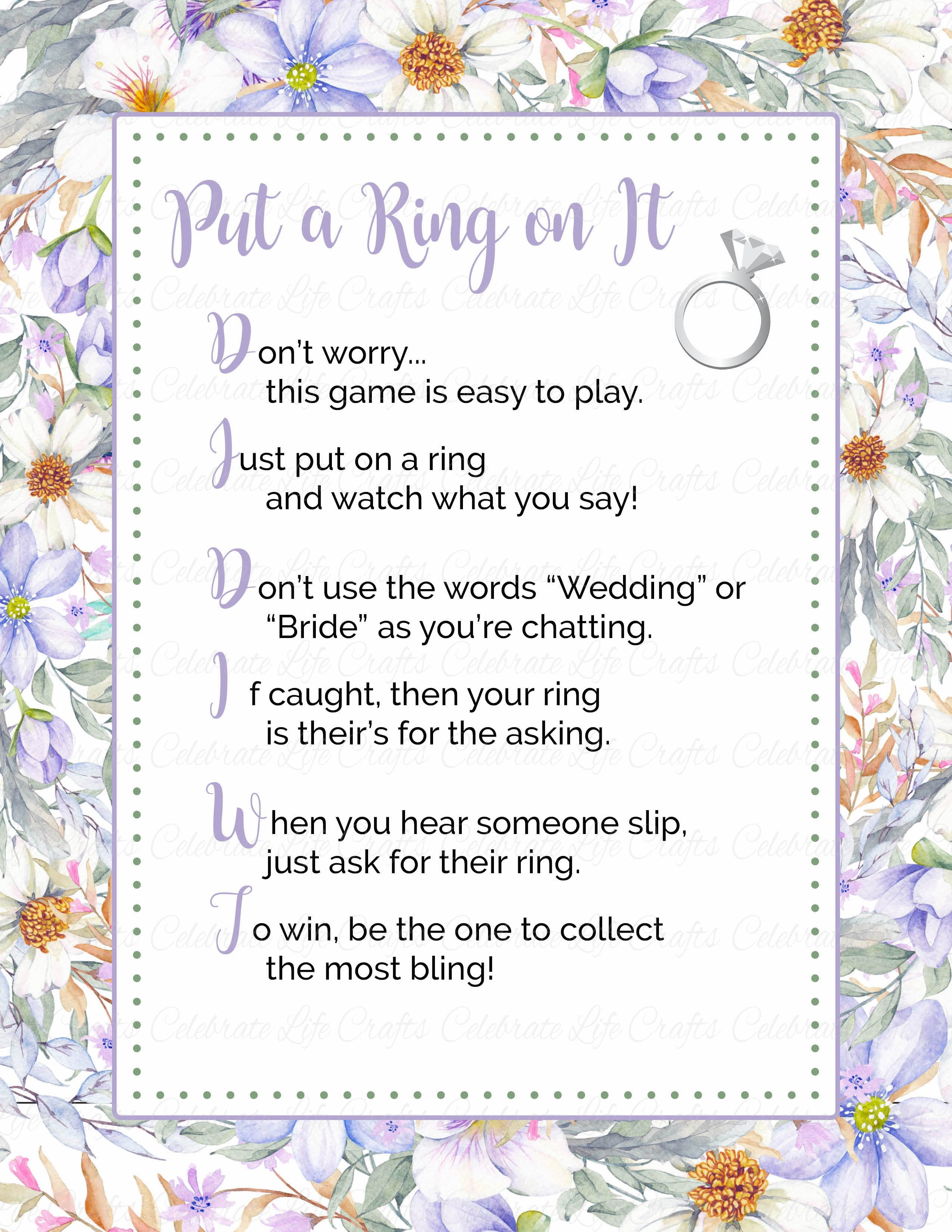 Remarkable image inside put a ring on it bridal shower game free printable