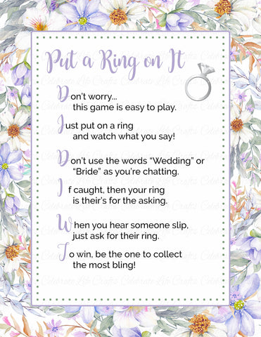 """Put a Ring on It"" Bridal Shower Game - PRINTABLE DOWNLOAD - Purple Floral Bridal Shower - BR1005"