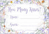 How Many Kisses Bridal Shower Game Sign and Guessing Cards - PRINTABLE DOWNLOAD - Purple Floral Wedding Shower - BR1005