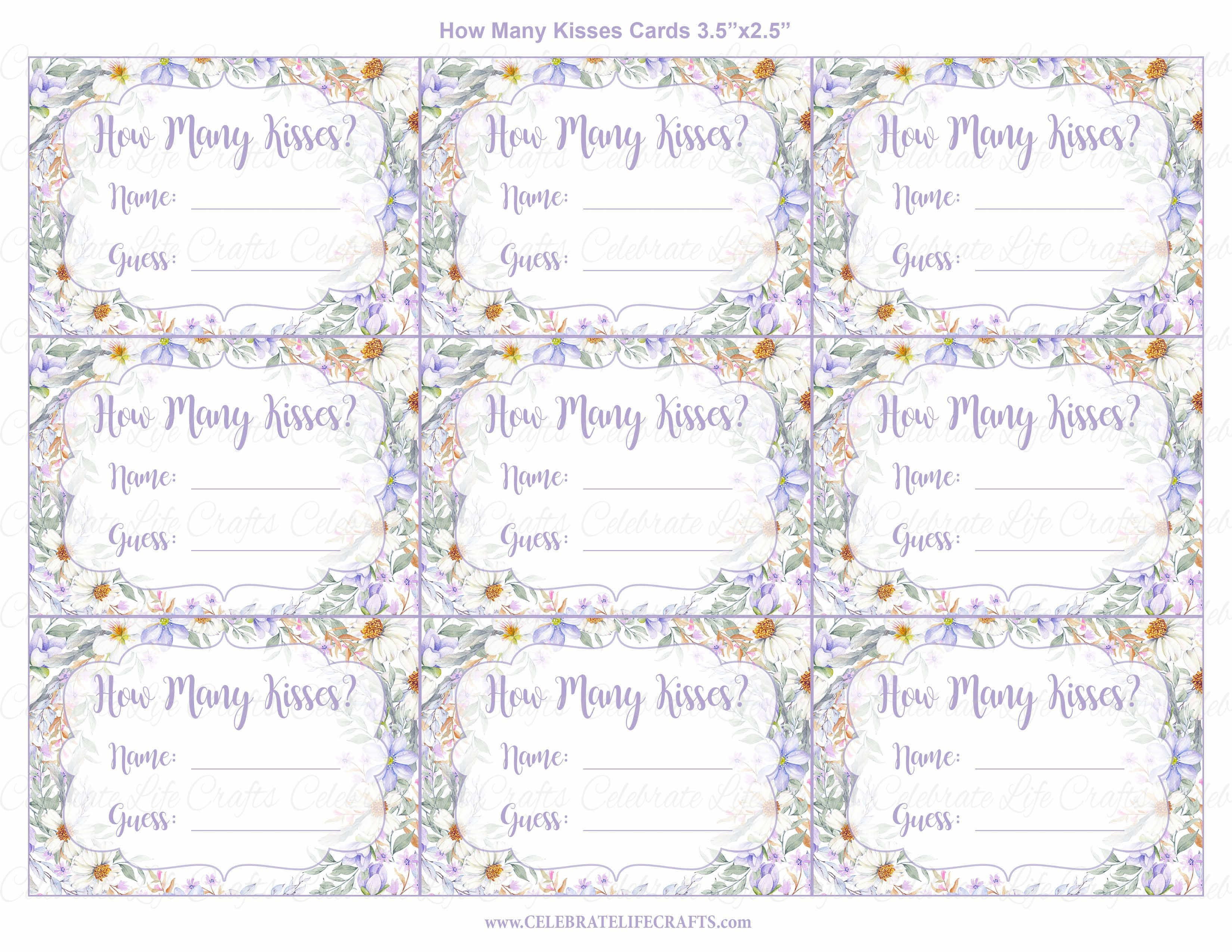how many kisses bridal shower game sign and guessing cards printable download purple floral