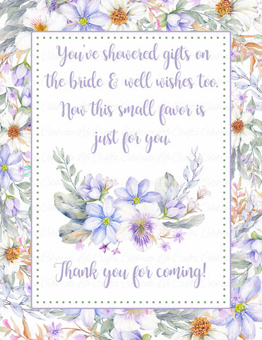 Thank You Favor Poem Sign - PRINTABLE DOWNLOAD - Purple Floral Bridal Shower Decorations - BR1005