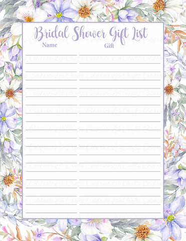 Bridal Shower Gift List Set - PRINTABLE DOWNLOAD - Purple Floral Wedding Shower Decorations - BR1005