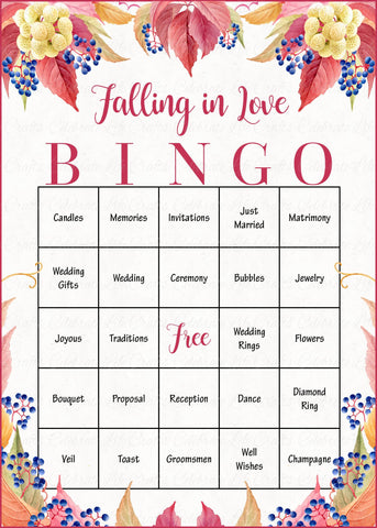 image regarding Bridal Bingo Printable named Slipping in just Delight in Bingo Playing cards - PRINTABLE Down load - Prefilled Marriage Reception or Bridal Shower Sport - Tumble Marriage ceremony - BR1006