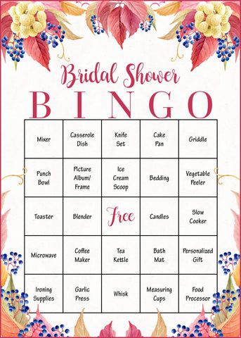 picture relating to Fall Bingo Printable named Bridal Shower Present Bingo Playing cards - PRINTABLE Down load - Bridal Reward Opening Recreation - Slipping within Delight in - BR1006
