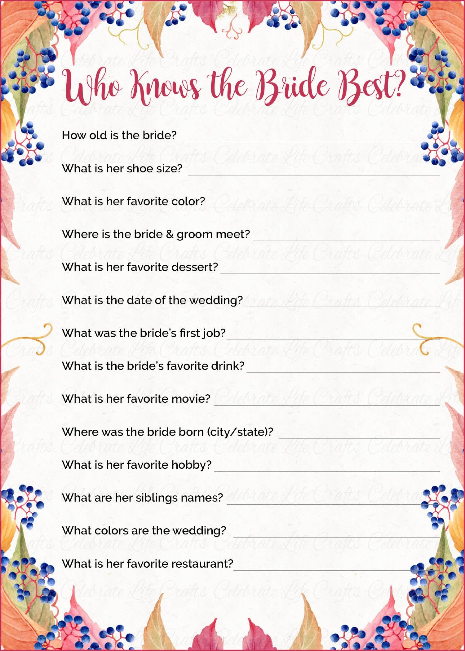Who Knows the Bride Best Fall Bridal Shower Game - Falling in Love ...
