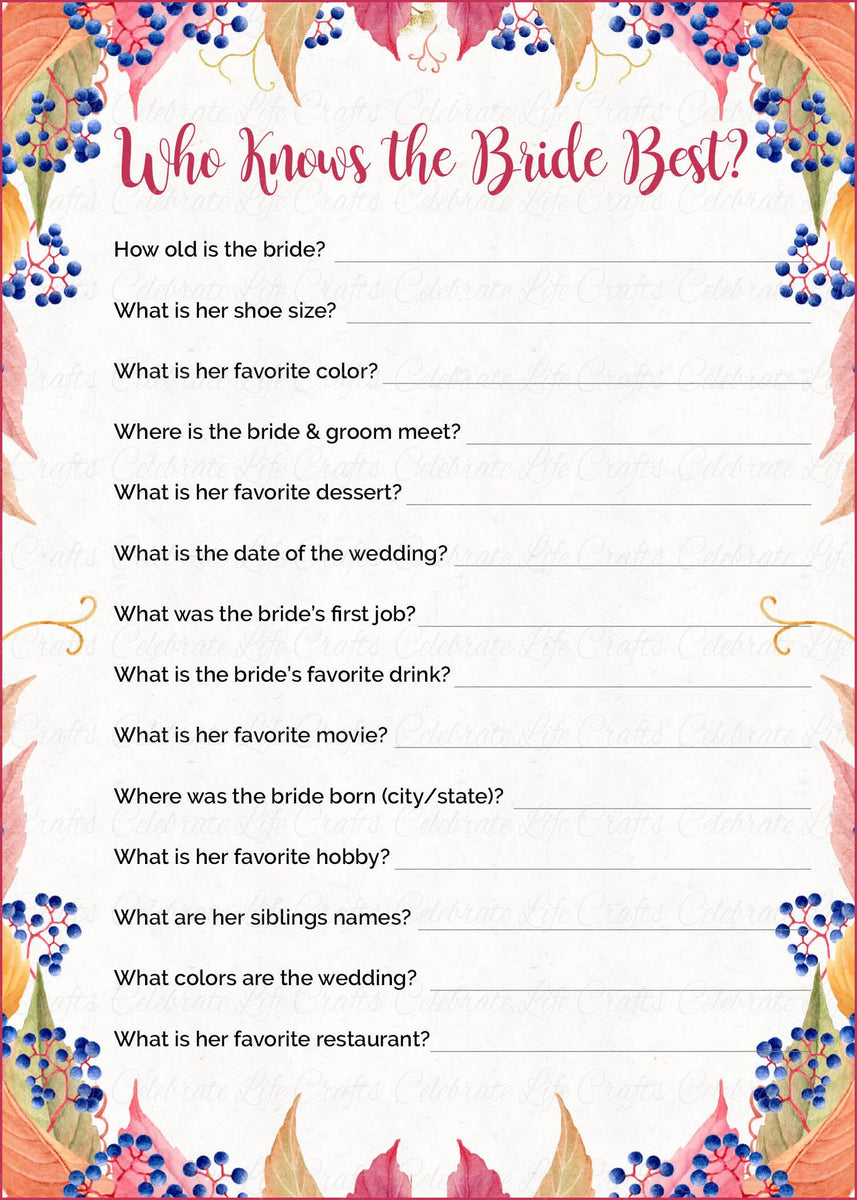 Who Knows the Bride Best Fall Bridal Shower Game - Falling ...