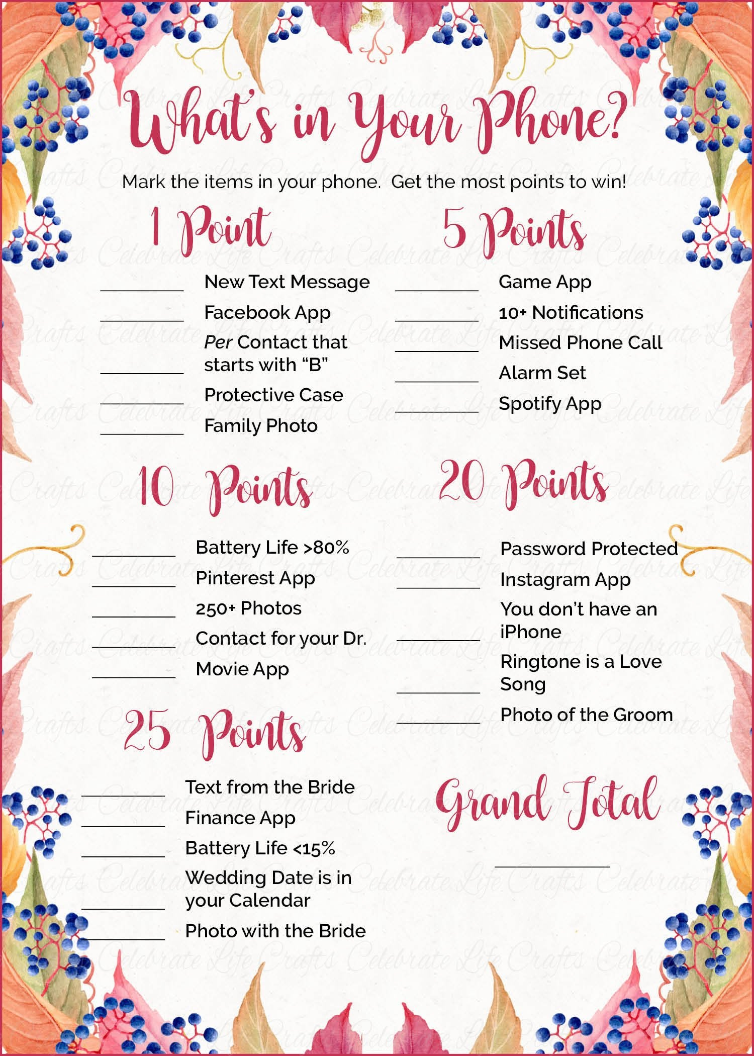 It's just a photo of Soft What's in Your Cell Phone Game Free Printable
