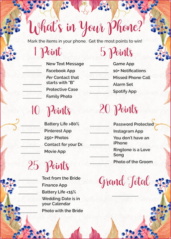 What's in Your Phone Bridal Shower Game - PRINTABLE DOWNLOAD - Falling in Love Wedding Shower - BR1006