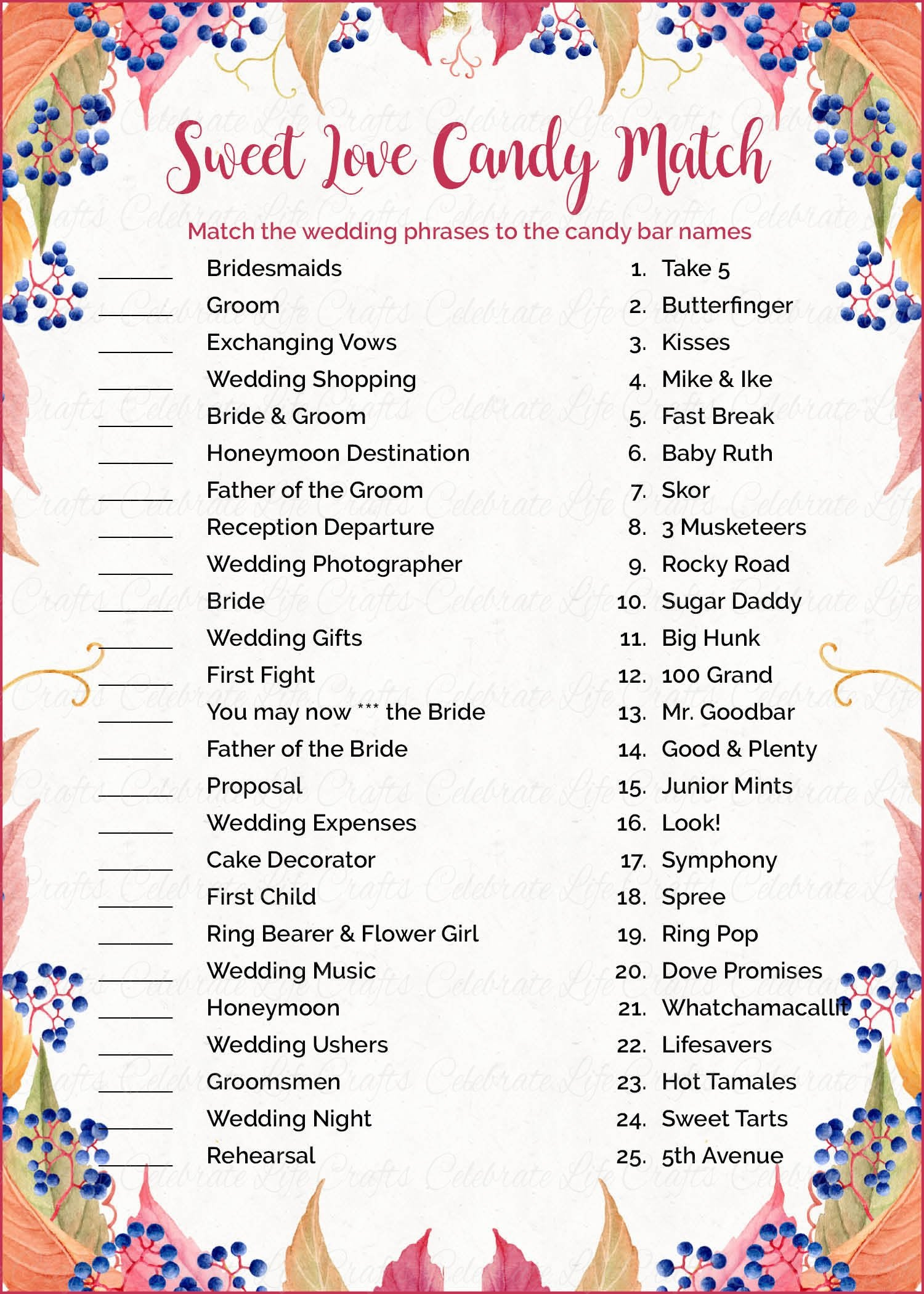 sweet love candy match bridal shower game printable download falling in love wedding shower game br1006
