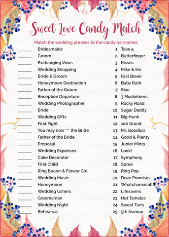 sweet love candy match bridal shower game printable download falling in love wedding shower