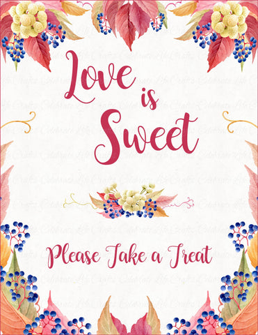 Love is Sweet Sign - PRINTABLE DOWNLOAD - Falling in Love Bridal Shower Decorations - BR1006