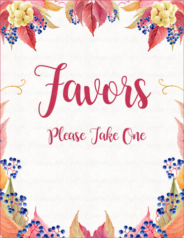 Favors Sign - PRINTABLE DOWNLOAD - Falling in Love Bridal Shower Decorations - BR1006