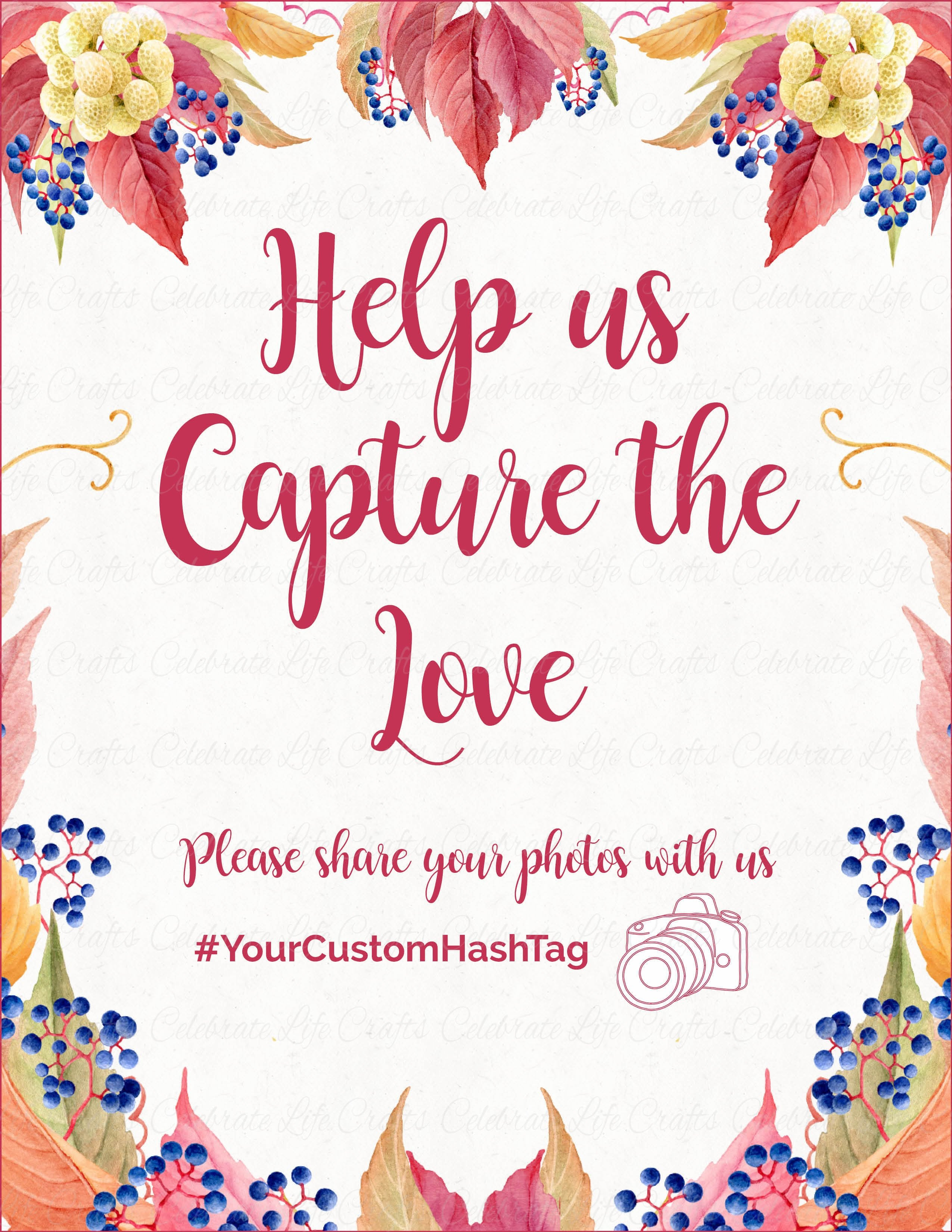 capture the love sign printable download falling in love bridal shower instagram signage br1006
