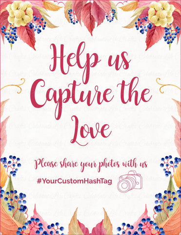 Capture the Love Sign - PRINTABLE DOWNLOAD - Falling in Love Bridal Shower Instagram Signage - BR1006