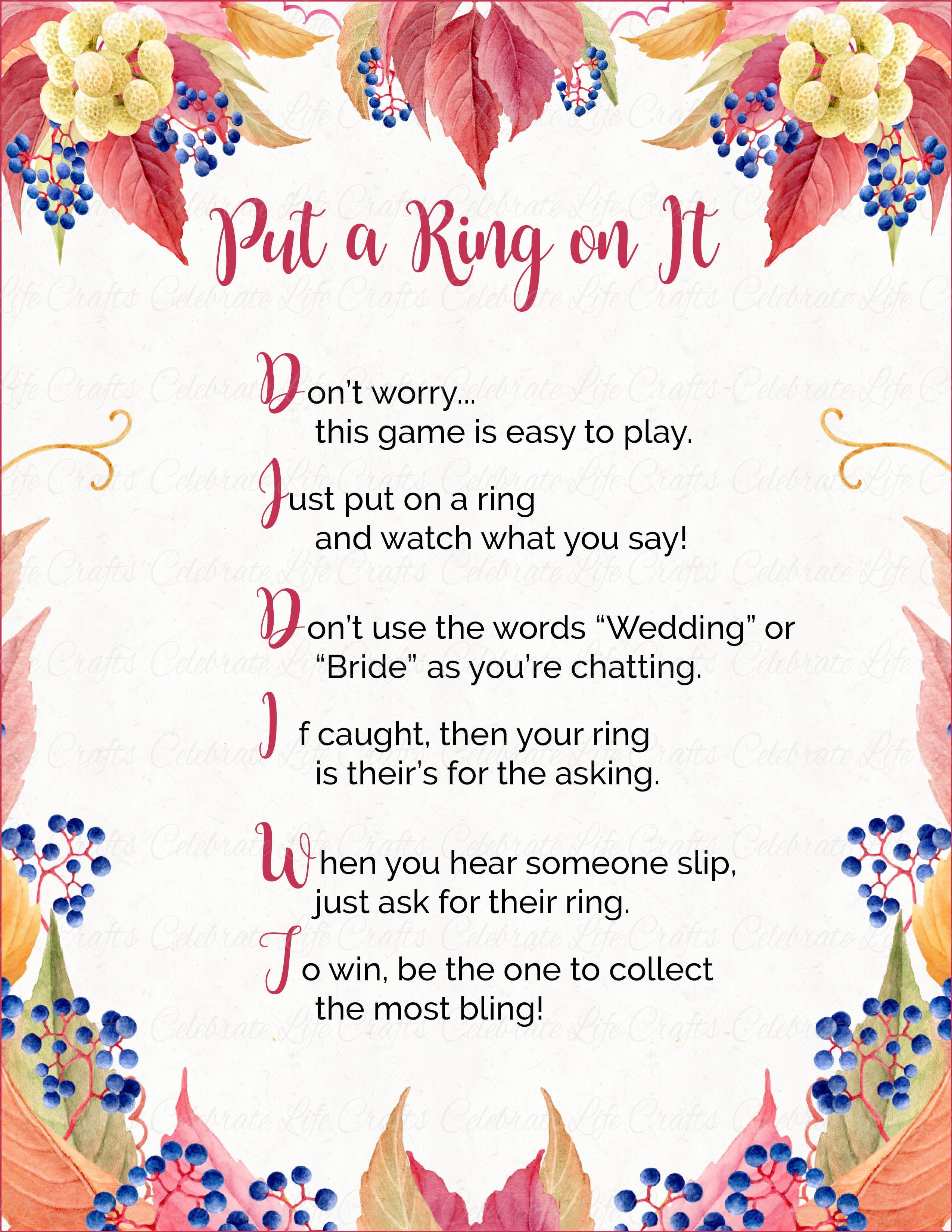 put a ring on it bridal shower game printable download falling in love bridal shower br1006