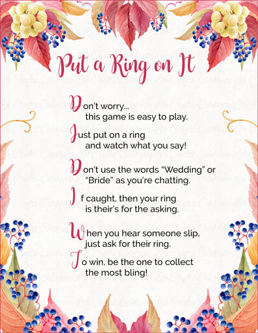 """Put a Ring on It"" Bridal Shower Game - PRINTABLE DOWNLOAD - Falling in Love Bridal Shower - BR1006"
