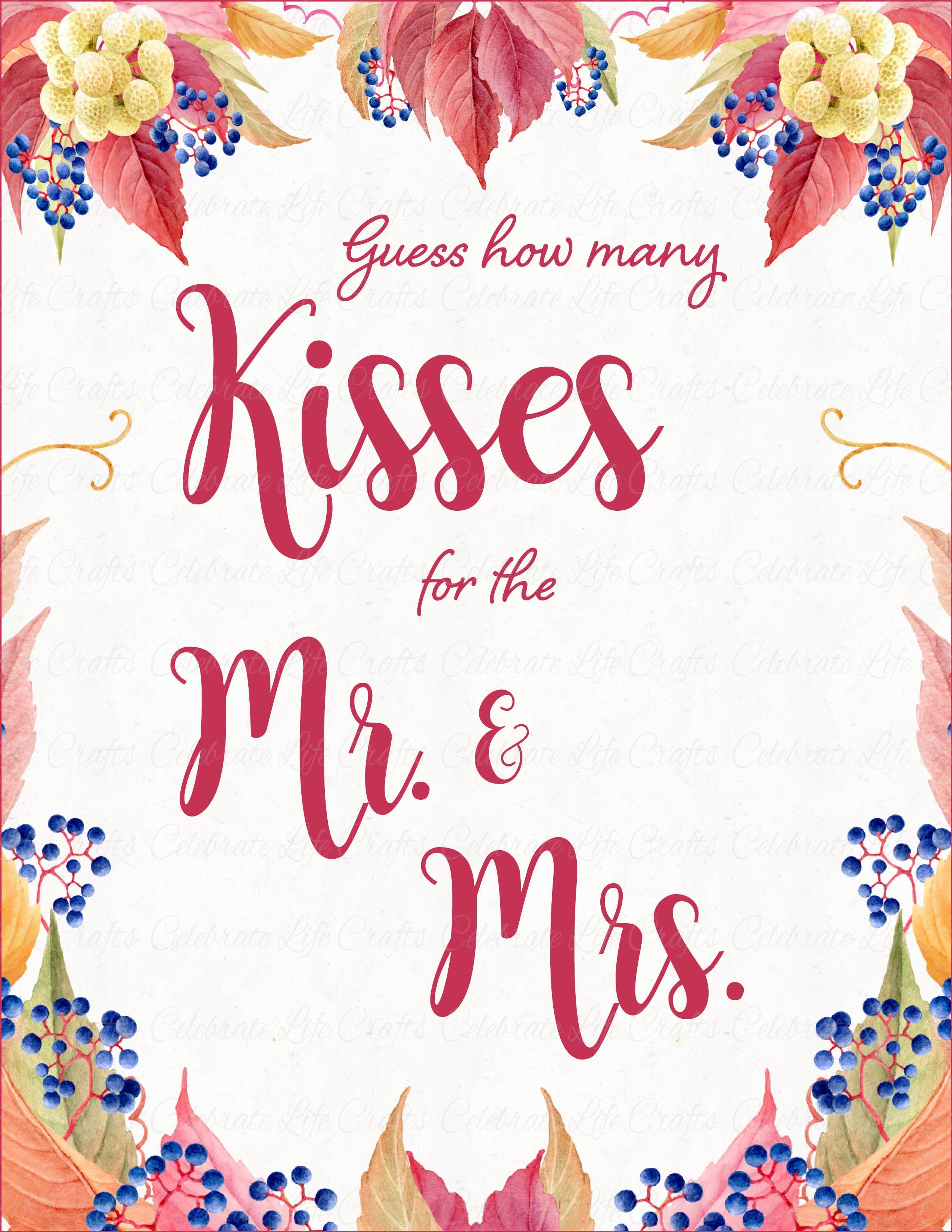 image relating to Guess How Many in the Jar Printable named How Countless Kisses Wedding day Reception Signal and Guessing