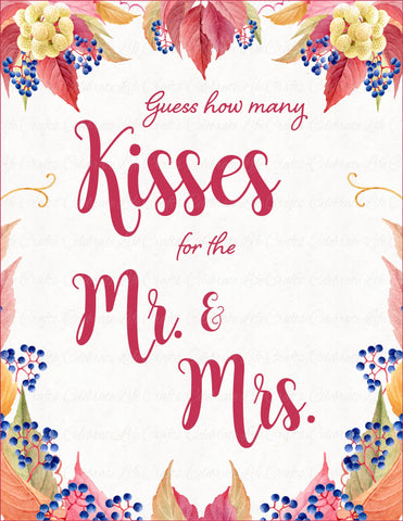 How Many Kisses Fall Wedding Reception Game Sign - Falling in Love ...