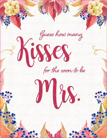 how many kisses bridal shower game sign and guessing cards printable download falling in