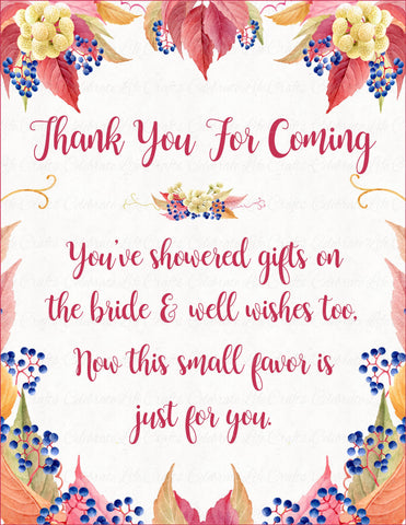 Thank You Favor Poem Sign - PRINTABLE DOWNLOAD - Falling in Love Bridal Shower Decorations - BR1006