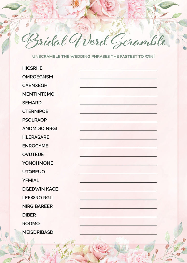 Bridal Word Scramble Game