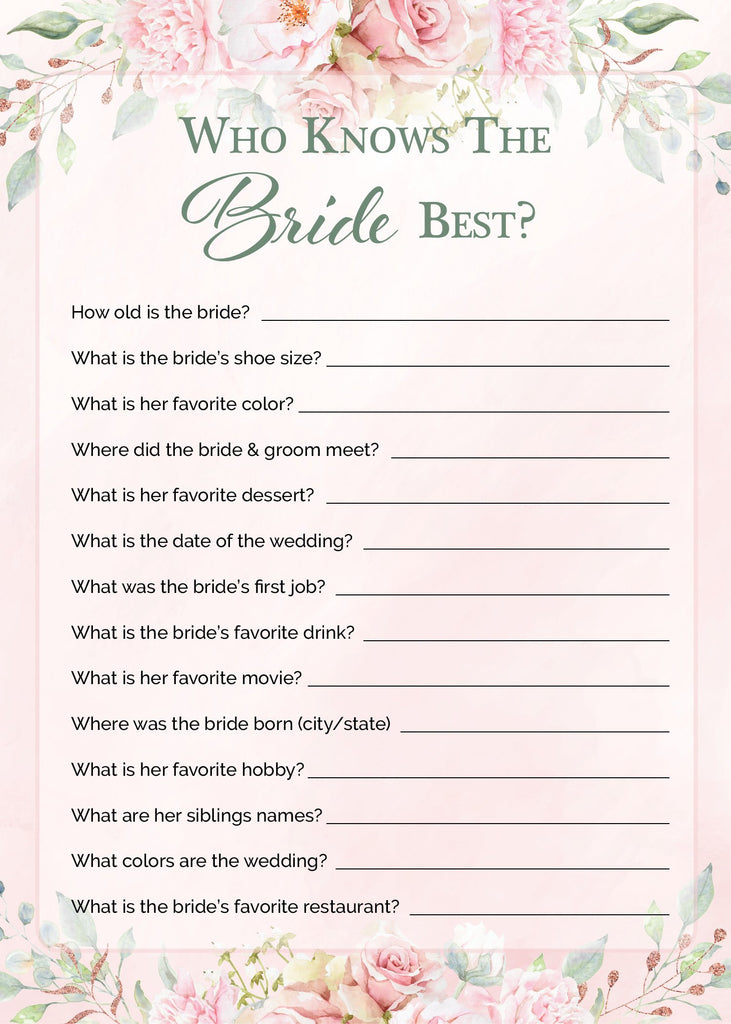 Who Knows The Bride Best Game