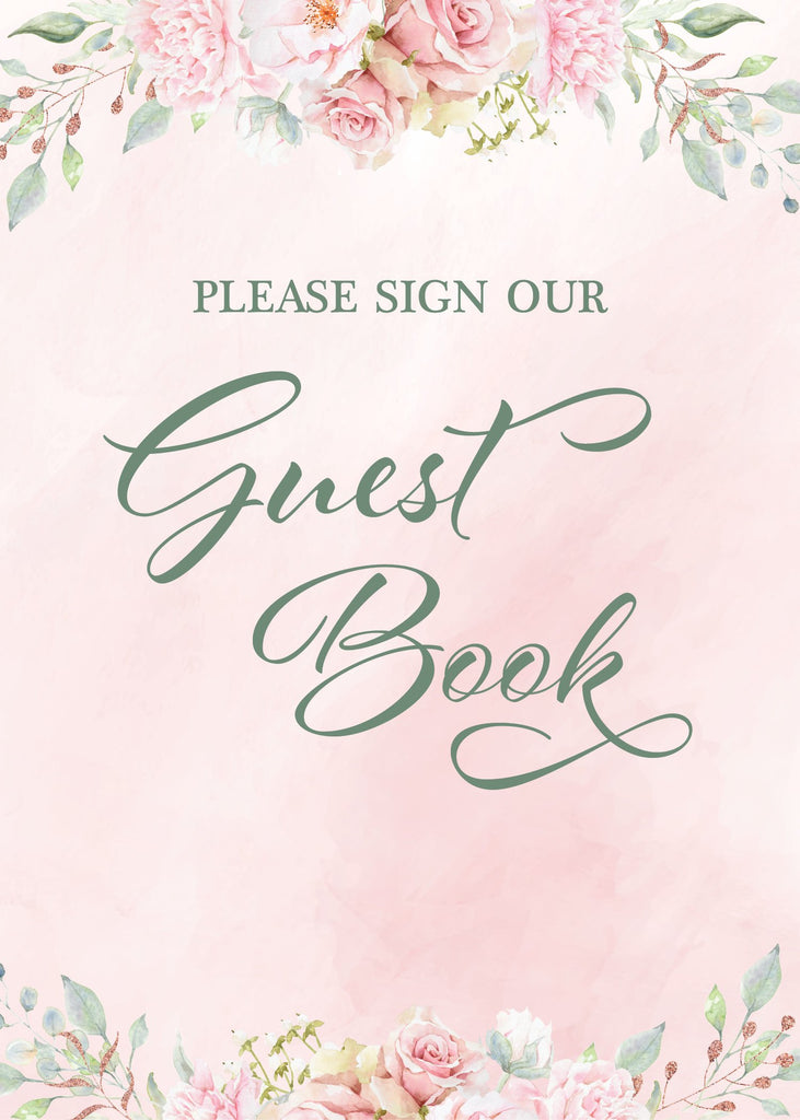 Pink Floral Bridal Shower Guest Book Sign