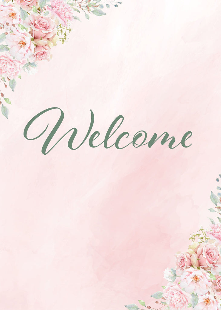 Pink Floral Bridal Shower Welcome Sign