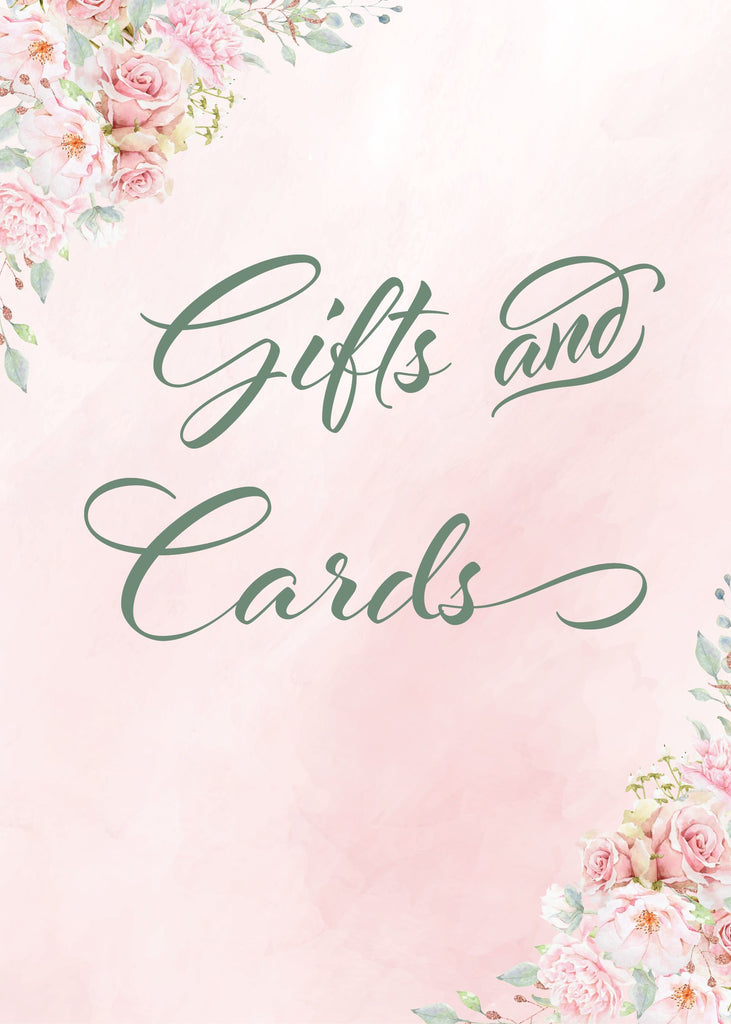 Pink Floral Bridal Shower Gifts and Cards Sign