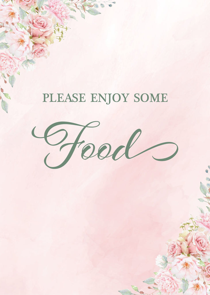 Pink Floral Bridal Shower Food Sign