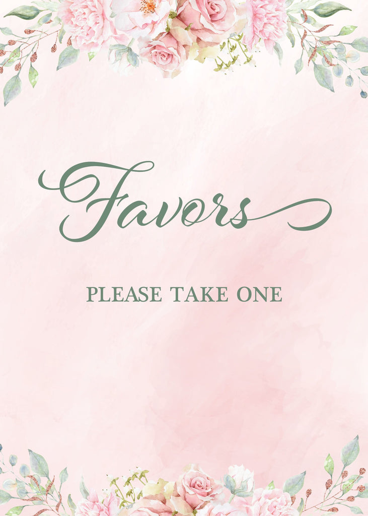 Pink Floral Bridal Shower Favors Sign